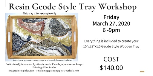 """Resin Geode Style Serving Tray 15""""x23"""""""
