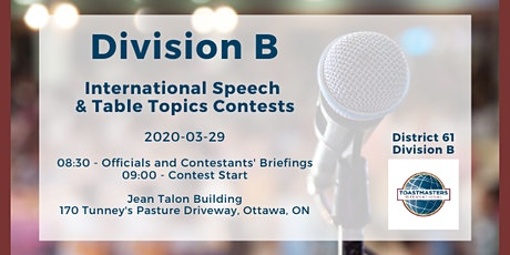Division B International Speech & Table Topics Contests tickets