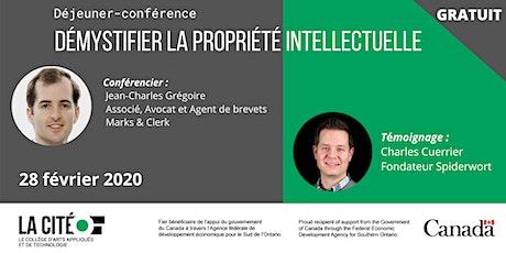 Déjeuner-conférence Démythifier la propriété intellectuelle billets