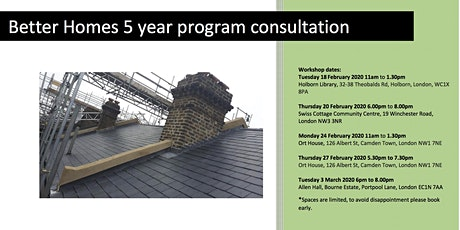 Better Homes 5 year programme consultation- Holborn evening tickets