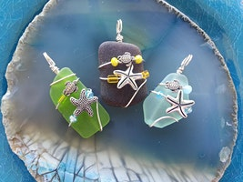 Sea Glass Wire Wrap Necklace with Sea Turtle Charm
