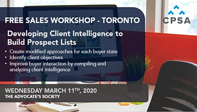Free Workshop: Developing Client Intelligence to Build Prospect Lists tickets