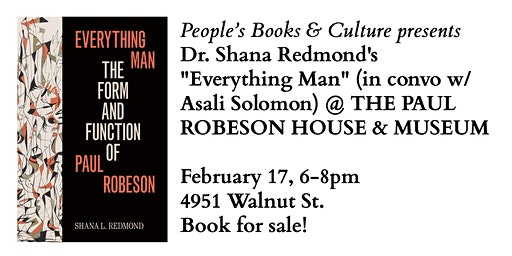 """Everything Man"" Dr. Shana Redmond in conv w/ Asali Solomon @ Robeson House"