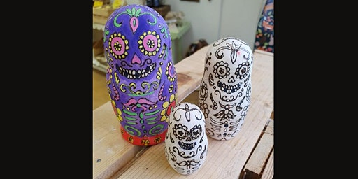 Pyrograph your own design into a wooden Matryoshka doll set.