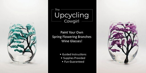 Spring Flowering Branches Wine Glasses