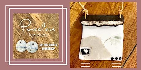 Porcelain Jewellery workshop - Sip and Create Ceramics make and glaze tickets