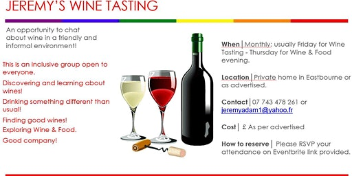 Jeremy's Wine Tasting – Thursday 26th March 2020: Food & Wine Tasting Dinner at Gr-Eat restaurant, Eastbourne