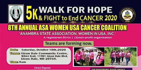ASA WOMEN USA 5K WALK/ RUN FOR HOPE & FIGHT TO END CANCER 2020 tickets