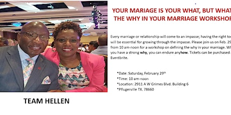 Your marriage is your what, but what's the WHY in your marriage? tickets