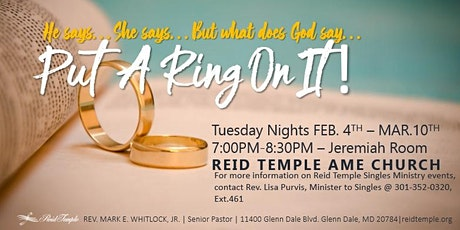 Singles Bible Study with Pastor Mark E Whitlock Jr @ Reid Temple AME Church tickets