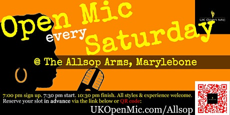 UK Open Mic @ Allsop Arms in Marylebone / Baker Street / Regent's Park tickets