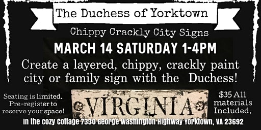 Chippy, Crackly City Sign w/the Duchess
