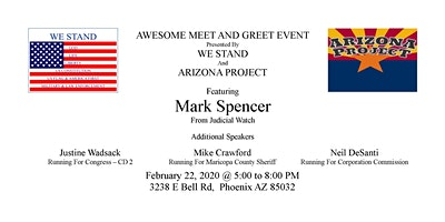 WE STAND  Presents: Meet and Greet with Mark Spencer from Judicial Watch and more
