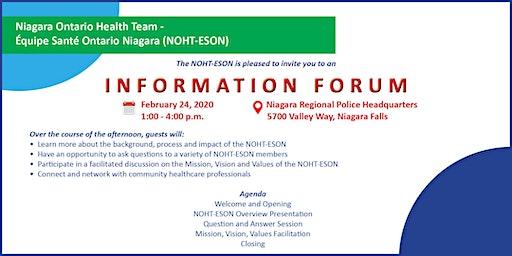NIAGARA ONTARIO HEALTH TEAM -ÉQUIPE SANTÉ ONTARIO NIAGARA Information Forum
