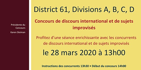 Concours de discours international et de sujets improvisés des Divisions A-B-C-D / Divisions A-B-C-D International Speech and Table Topics Contests (en français) billets
