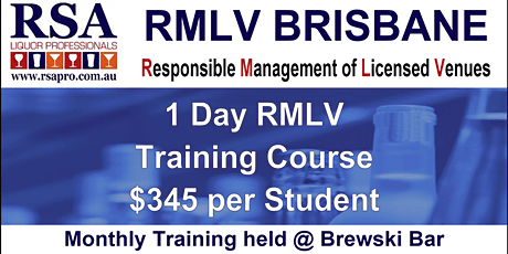 RMLV Training Course | Caxton Street, Brisbane tickets