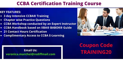 CCBA Certification Training in Des Moines, IA