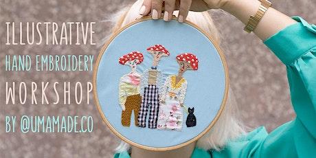 Illustrative Hand Embroidery Workshop by Umamade / Stitching on Clothing bilhetes