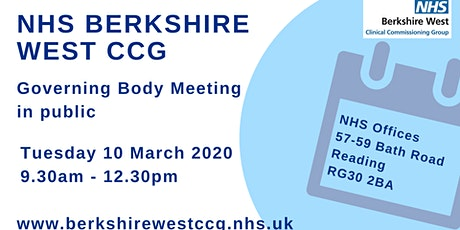 Berkshire West CCG Governing Body meeting in public tickets