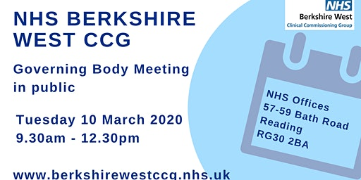 Berkshire West CCG Governing Body meeting in public