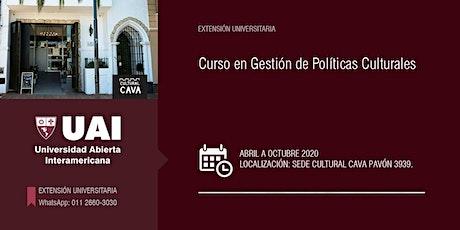 CURSO EN GESTIÓN DE POLÍTICAS CULTURALES -MARZO- entradas