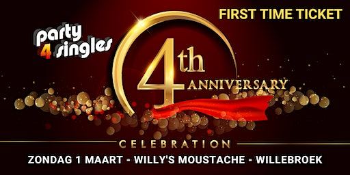 Party4singles | First Time Ticket | ZONDAG 1 MAART | Willy's Moustache