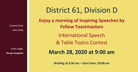 Division D International Speech and Table Topics Contests / Concours de discours international et de sujets improvisés de la Division D (en anglais) billets
