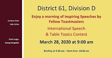 Division D International Speech and Table Topics Contests / Concours de discours international et de sujets improvisés de la Division D (en anglais)
