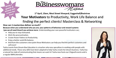 Your Motivators to Productivity, Work Life Balance and finding the perfect clients! Masterclass & Networking tickets