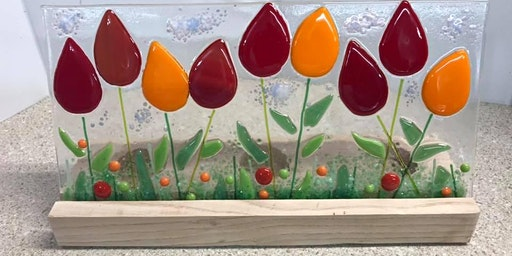Tip Toe Through the Tulips Fused Glass Panel