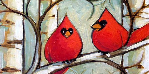 RE-SCHEDULE -Duo of Cardinals - Acrylic Painting Class - Mount Ulla