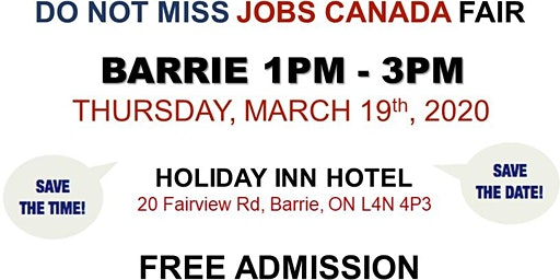 Barrie Job Fair – March 19th, 2020