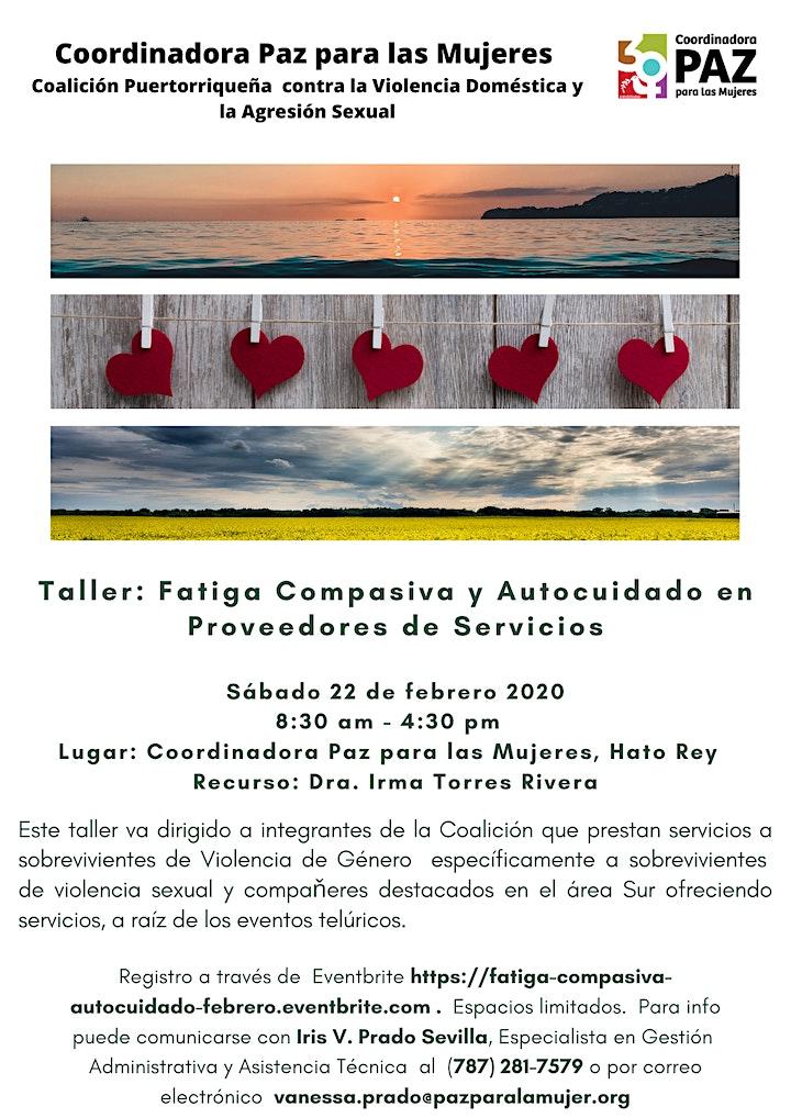 Taller: Fatiga Compasiva y Autocuidado en Proveedores de Servicios image