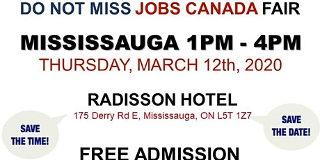 Mississauga Job Fair -  March 12th, 2020 tickets