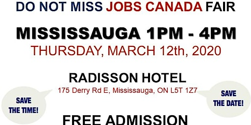 Mississauga Job Fair -  March 12th, 2020