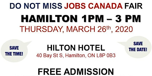 Hamilton Job Fair –   March 26th, 2020