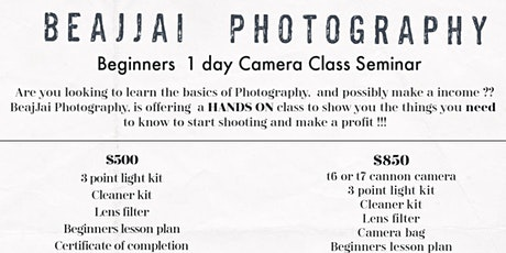 BeaJjai Photography Beginners Camera Class Seminar tickets