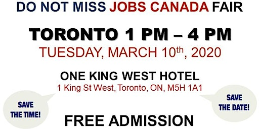 Free: Toronto Job Fair - March 10th, 2020