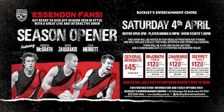 Bombers Season Opener with McGrath, Zaharakis and Merrett at Buckleys Ent! tickets