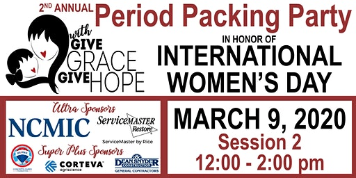 2nd Annual Period Packing Party – Session 2 – 12:00 – 2:00 pm