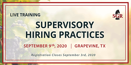 Supervisory Hiring Practices - Live Training - Grapevine, TX tickets