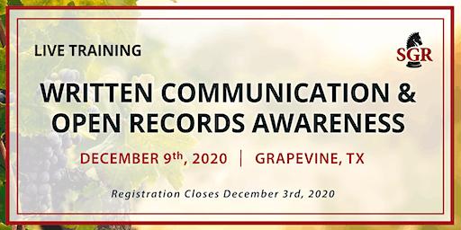 Written Communication & Open Records Awareness -  Grapevine, TX
