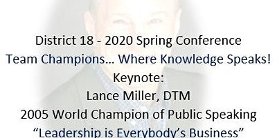 2020 District 18 Toastmasters Spring Conference