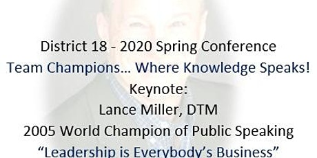 2020 District 18 Toastmasters Spring Conference tickets