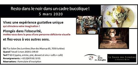 """Inscription """"Resto dans le noir"""" au Salon Des Lumières - 05/03/2020 billets"""