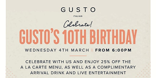 GUSTO'S 10th BIRTHDAY PARTY