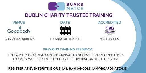 Boardmatch: Dublin Charity Trustee Training (CPD Certified)