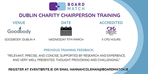 Boardmatch: Dublin Charity Chairperson Training (CPD Certified)