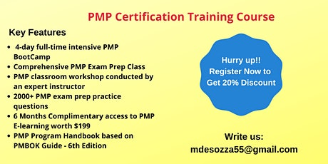 PMP Exam Prep Training in Appleton, ME tickets