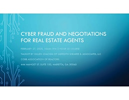 Cyber Fraud and Negotiations for Real Estate Agents CE